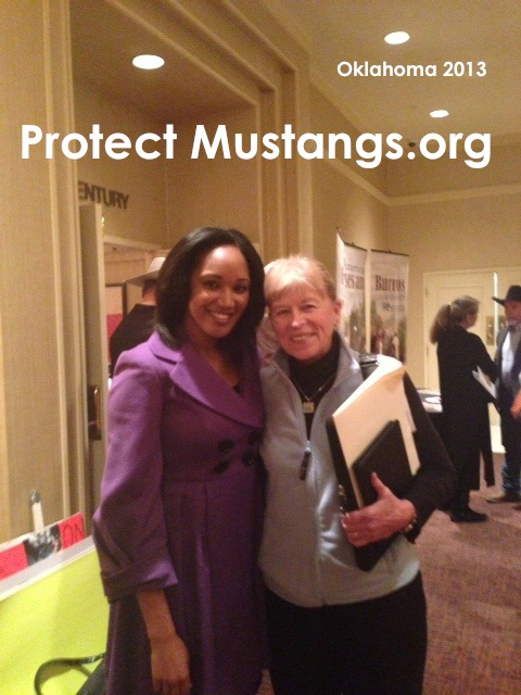 Raychelle McDonald, Protect Mustangs' Spokeswoman, with Ginger Kathrens, Executive Director of The Cloud Foundation outside the Wild Horse &amp; Burro Advisory Board Meeting in Oklahoma City. March 4, 2013