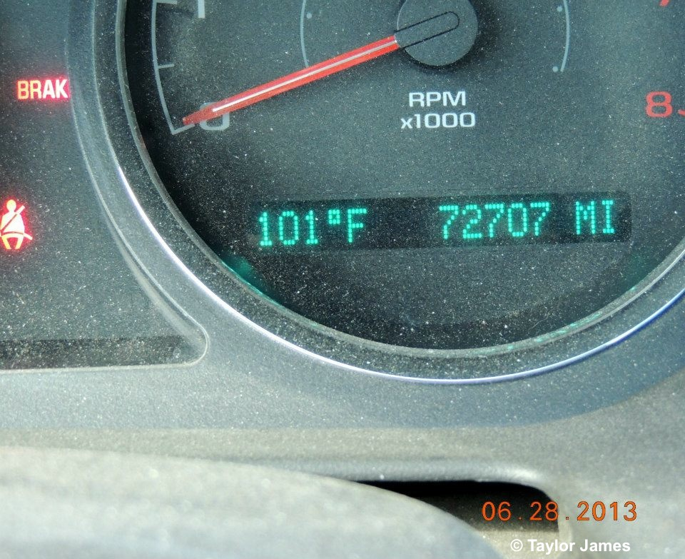 PVC 5:30 p.m. Car Therm June 28 2013 Heat Wave with No Shade